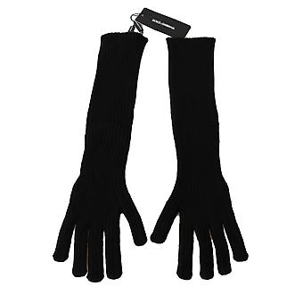 Dolce & Gabbana Black 100% Cashmere Knitted Elbow Length Gloves LB252-M