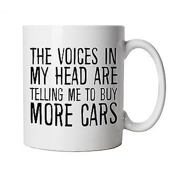 Vozes na minha cabeça comprar mais carros, caneca - presente copo