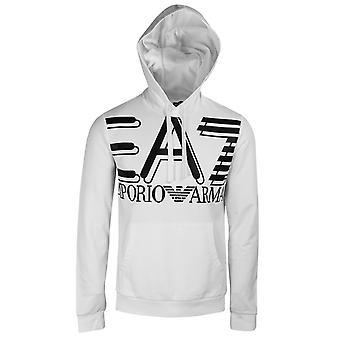 Ea7 emporio armani men's white logo hoodie