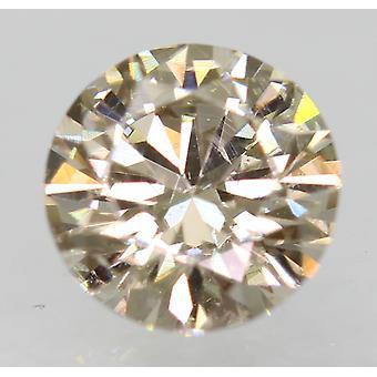 Cert 0.62 Carat Light Brown VVS2 Round Brilliant Natural Diamond 5.55mm EX CUT