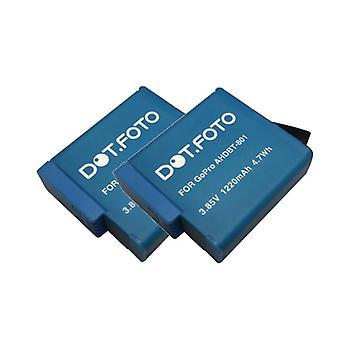 2 x Dot.Foto GoPro AJ-BAT001 erstatning batteri - 3.85v / 1220mAh - GoPro 8, 7, 6, 5