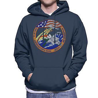 NASA STS 57 Endeavour Mission Badge Distressed Men's Hooded Sweatshirt