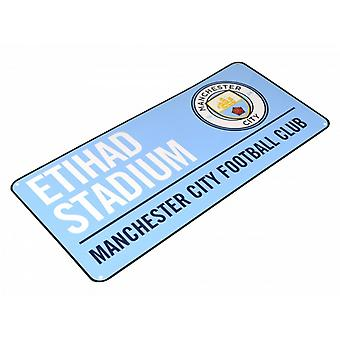 Manchester City FC officielle fodbold farvede Metal Street tegn