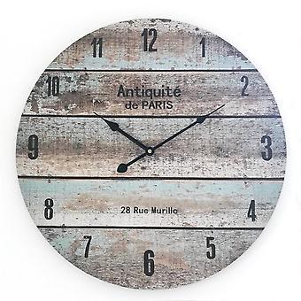 Rebecca huonekalut kello seinä analoginen puu pyöreä shabby 50x50x4.5