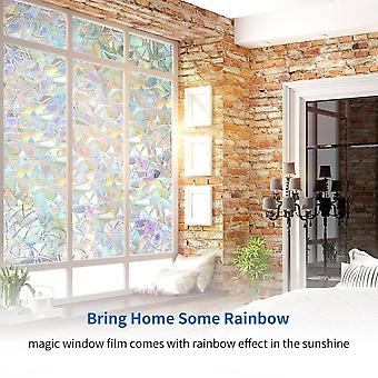 Rainbow Effect Color Home Decor Window Film - Static Self-adhesive Stained