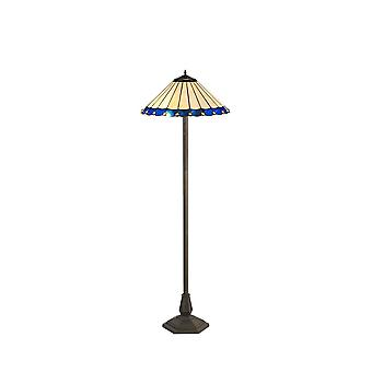 2 Light Octagonal Floor Lamp E27 With 40cm Tiffany Shade, Blue, Crystal, Aged Antique Brass