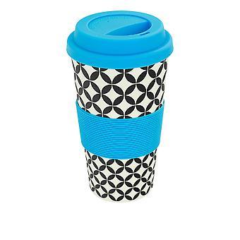 Copo de Café Reutilizável - Caneca de Viagem de Fibra de Bambu com Tampa de Silicone, Manga - 400ml (14oz) - Círculos - Azul