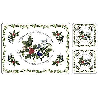 Pimpernel The Holly and The Ivy Placemats & Free Coasters Set of 6