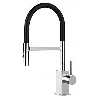 Kitchen Single-lever Sink Mixer With Black Movable Spout And 2 Jets Shower - Low Version 43,7 Cm - 561