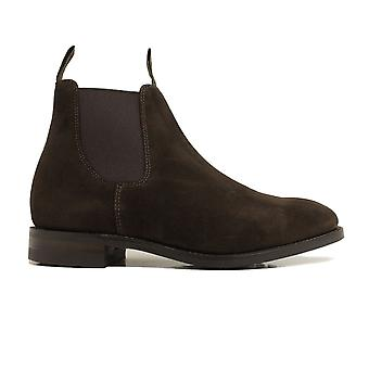 Loake Chatterley Dark Brown Suede Leather Womens Chelsea Pull On Boots