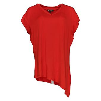 DG2 por Diane Gilman Women's Top Assimétrica Hem V-Neck Tee Red 710-366