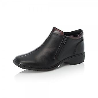 Rieker L3882-00 Doro Comfortable Roomy Fit Ankle Boots In Black