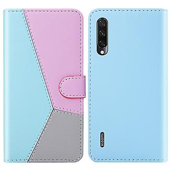 For Xiaomi Mi A3 Lite / Mi CC9 Tricolor Stitching Horizontal Flip TPU + PU Leather Case with Holder & Card Slots & Wallet(Blue)