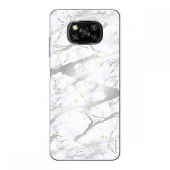 Casco para Xiaomi Poco x3 Nfc en silicona suave 1 mm, efecto mármol gris