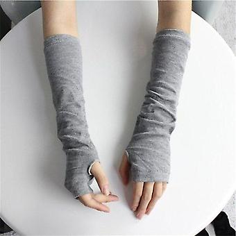 Warmer Knitted Long Fingerless Mittens Fashion Women Lady Striped Elbow Gloves