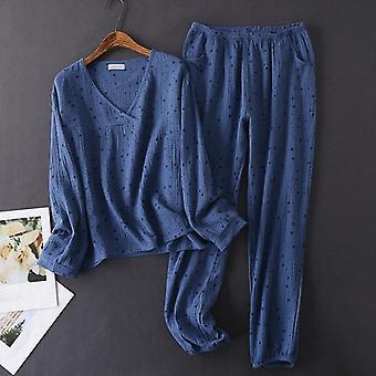 Women's Puuvilla Vesipesty Pyjama Sleepwear Rakenne Kreppi Pitkähihainen