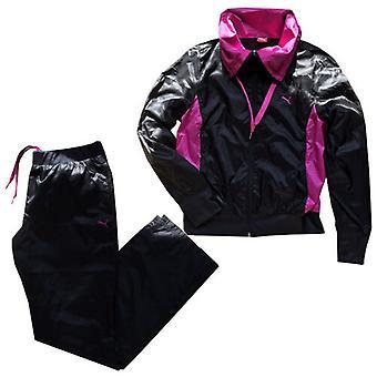 Puma tejida cremallera completo chándal top pantalones joggers mujeres negro 821696 01
