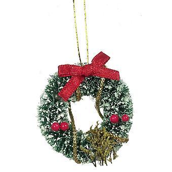 Poppenhuis versierde besneeuwde kerstkrans miniatuur 1:12 kerstaccessoire