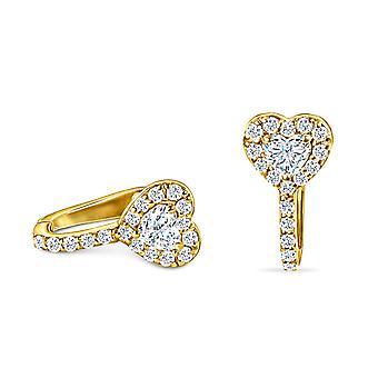 Cercei Cuff Heart 18K aur și diamante (o singură bucată)