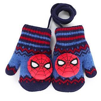 Spidermanăs Mănuși, Toamna Iarna Plus Catifea Cald Lanyard Desen animat, Toddler, Copii