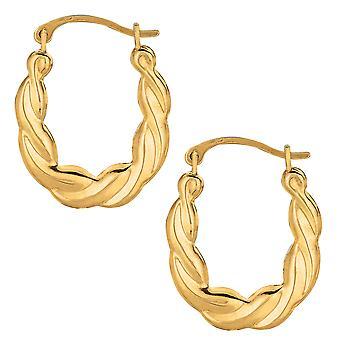 10k Yellow Gold Shiny Twisted Oval Hoop Earrings, Diameter 20mm