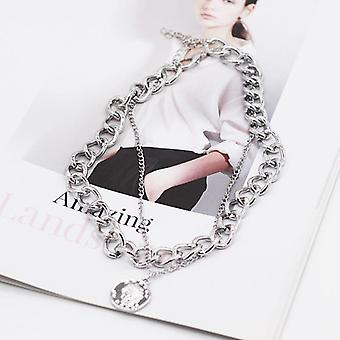 Hip Hop Double Layer Queen Coin Head, Short Clavicle Chain, Metal Thick