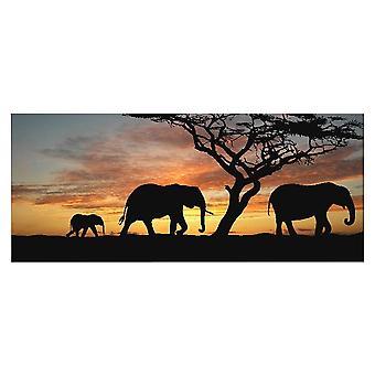Panel de elefante multicolor en poliéster, madera, L70xP3xA100 cm