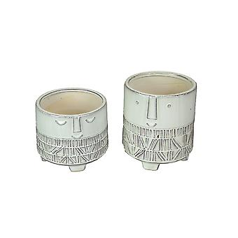 Set of 2 Modern Tropical Style Washed White Ceramic Round Face Planters