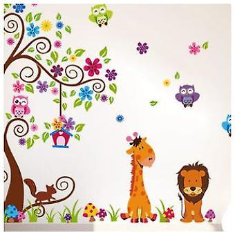 DIY djungeluggla Cartoon Wall Klistermärken för Plantskola 230 * 150cm