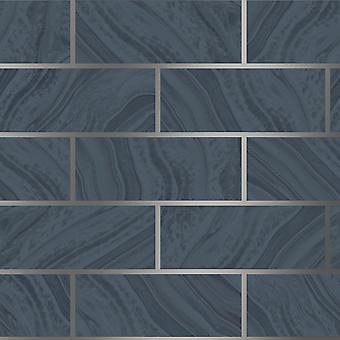 Navy Brick Glitter Behang