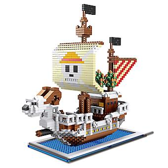 One Piece Going Merry Building Blocks Puzzle Micro 3d Figures Educational Brick Toys