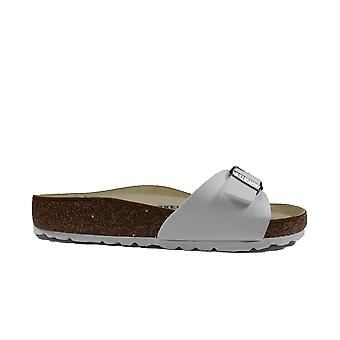 Birkenstock Madridin valkoiset naiset liukastuvat muulin sandaaleissa