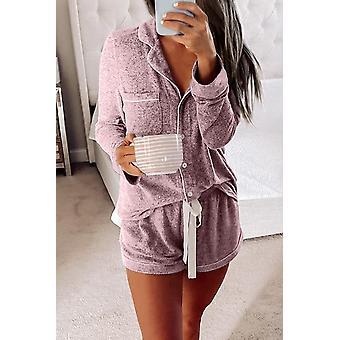 Pink Long Sleeve Drawstring Button Short Loungewear