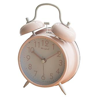 Candy-colored Dual Bell Alarm Clock Watch Loud Lazy Bedside Night Light Clock