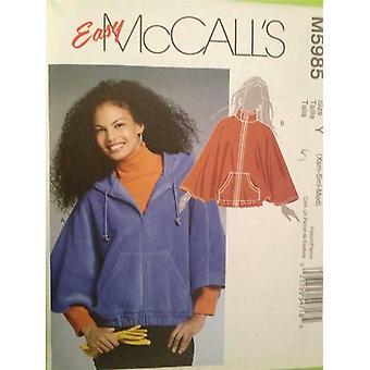 McCalls ompelu kuvio 5985 Naiset Misses Capelets Koko L-XL Leikkaamaton