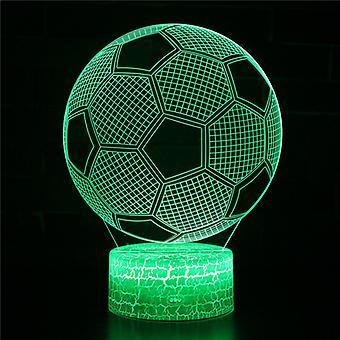 3D Optisk illusionslampa LED Nattljus, 7 färger Touch Sänglampa Sovrum Bord Art Deco Barn Nattljus med USB-kabel Nyhet Julklapp-Fotboll #392