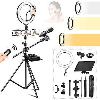 HanFei 10'' Selfie LED Ringlicht mit Stativ, Ringleuchte mit Stativ Fotolicht USB-betrieb 3