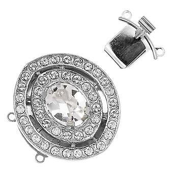 Filigree Box Clasps, 2 Strand Terraced Oval with Crystals 27x26.5mm, 1 Piece, Rhodium Plated