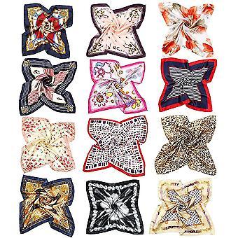 FengChun Seidentuch Damen Bandana Halstuch Damen Kopftuch Vierecktuch Seide 50 x 50cm