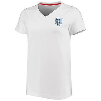 England Football Women's Small Crest V Neck T-Shirt   White