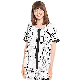 Rösch Pure 1213122-16455 Dame Hvit-Svart Stripet Bomull Pyjamas Topp