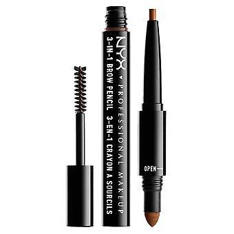 NYX Professionell Make Up NYX 3-i-1 ögonbrynspenna / Pulver / Mascara 1.9ml Auburn