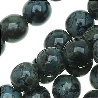 Czech Glass Druk Round Beads 6mm Jet Picasso (50)
