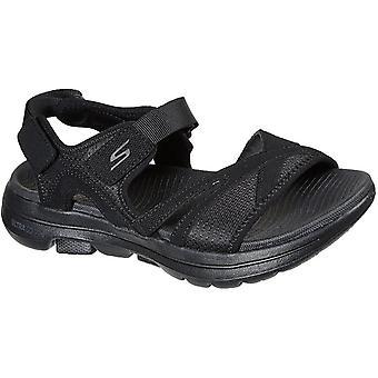 Skechers women's go walk 5 restored summer sandal black 32155