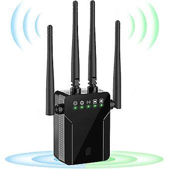 Amplificador de propulsão de alcance do extensor WiFi 1200Mbit / s, extensor WiFi de 5GHz Poderoso com conexão LAN, cobertura de até 200 m², Configuração fácil, funciona com todos os roteadores WLAN-Black