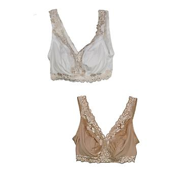 Breezies Soft Support Wirefree Bra w/ Contrast Lace Set of 2 White A373660