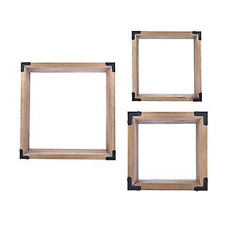 Danya B. Rustic Hanging Open Shadow Boxes - Pine Wall Cubes With Black Metal Accents (Set Of 3)