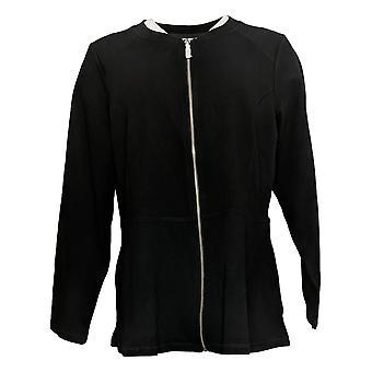 Denim &co. kvinner aktiv peplum glidelås foran jakke svart A277655
