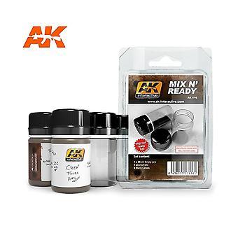 AKインタラクティブAK616 - 蓋付きN Ready 4空のペイントジャーをミックス
