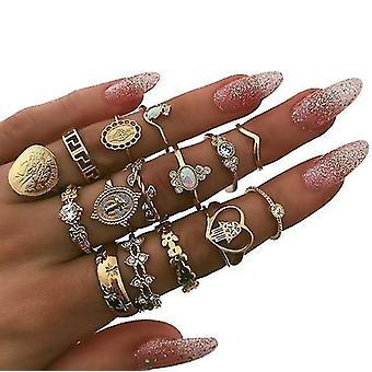 15 Stk Ringe Set Knöchel Ringe Gold böhmische Ringe für Frauen und Mädchen